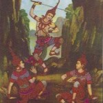 Scene from one of the Jatakas - where the Buddha was incarnated as Pra Mahosot