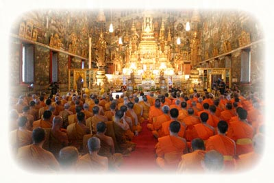 Buddhist Monks of Two separate schools Chant Evening Prayers in Unison